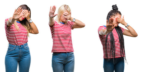 Collage of young women wearing stripes t-shirt over isolated background covering eyes with hands and doing stop gesture with sad and fear expression. Embarrassed and negative concept.