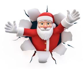3D Illustration Weihnachtsmann Willkommen