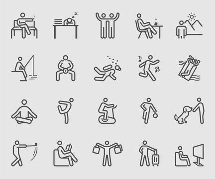 Line icons set for People relaxation