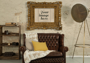 Antique Gold Picture Frame in Living Room Mockup