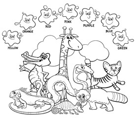 main colors coloring book with animals