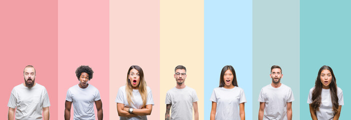Collage of different ethnics young people wearing white t-shirt over colorful isolated background afraid and shocked with surprise expression, fear and excited face. 壁紙(ウォールミューラル)