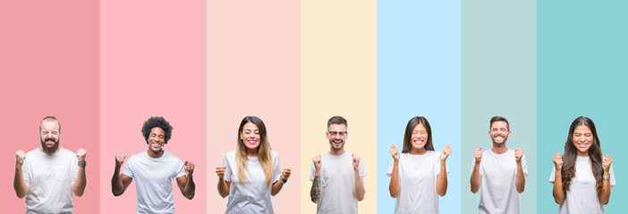 Collage of different ethnics young people wearing white t-shirt over colorful isolated background excited for success with arms raised celebrating victory smiling. Winner concept.