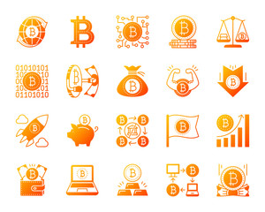Bitcoin simple gradient icons vector set