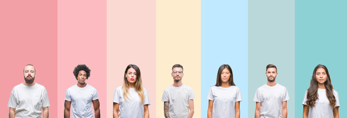 Collage of different ethnics young people wearing white t-shirt over colorful isolated background Relaxed with serious expression on face. Simple and natural looking at the camera.
