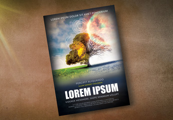 Movie Poster Layout with Futuristic Illustration