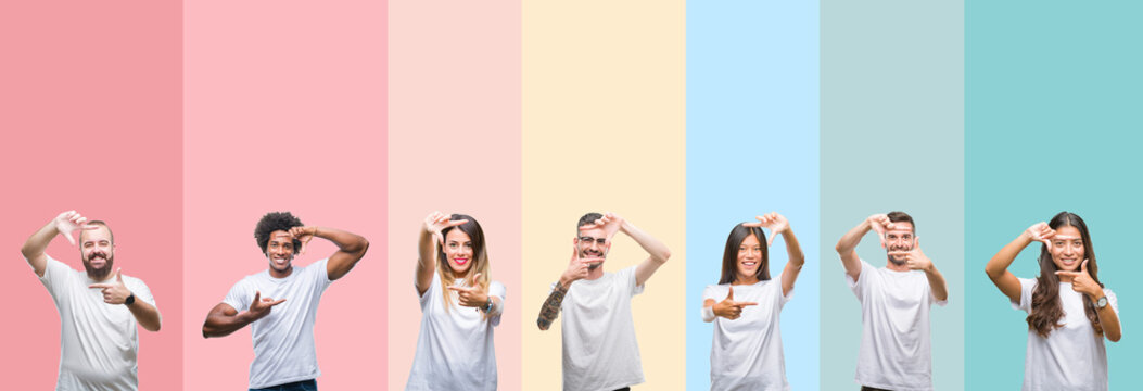 Collage of different ethnics young people wearing white t-shirt over colorful isolated background smiling making frame with hands and fingers with happy face. Creativity and photography concept.