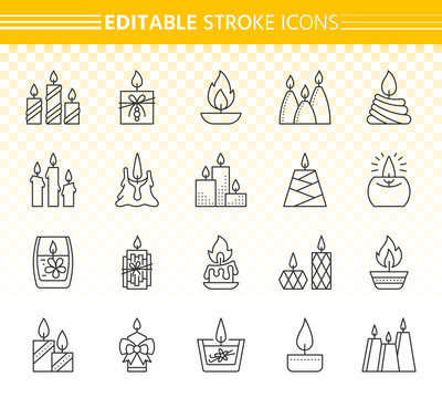 Candle simple black line icons vector set