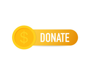 Vector donate concept hand and money button in flat style. Vector illustration.