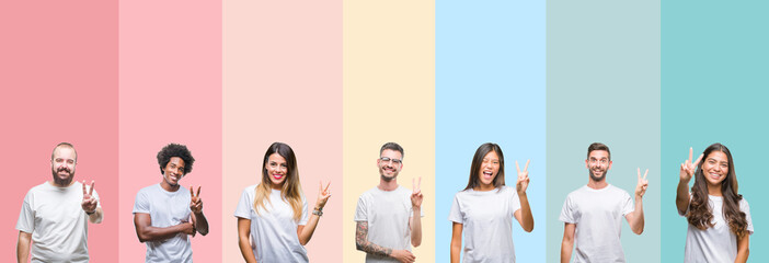 Collage of different ethnics young people wearing white t-shirt over colorful isolated background smiling with happy face winking at the camera doing victory sign. Number two.