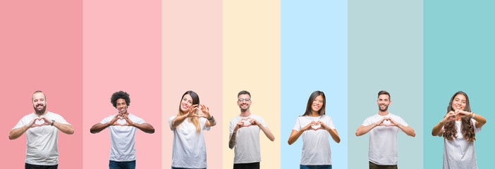Collage of different ethnics young people wearing white t-shirt over colorful isolated background smiling in love showing heart symbol and shape with hands. Romantic concept.