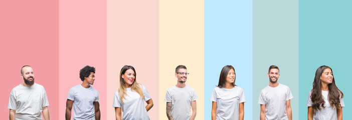 Collage of different ethnics young people wearing white t-shirt over colorful isolated background looking away to side with smile on face, natural expression. Laughing confident.