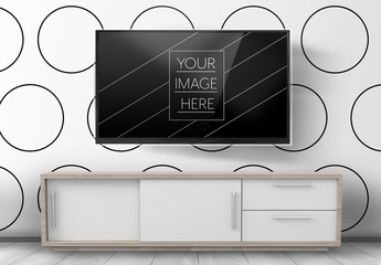 Modern Television and White Console Mockup