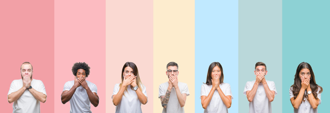 Collage of different ethnics young people wearing white t-shirt over colorful isolated background shocked covering mouth with hands for mistake. Secret concept.
