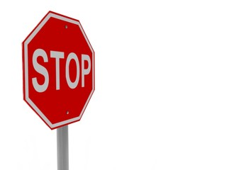 3d render, 3d illustration of a stop sign.