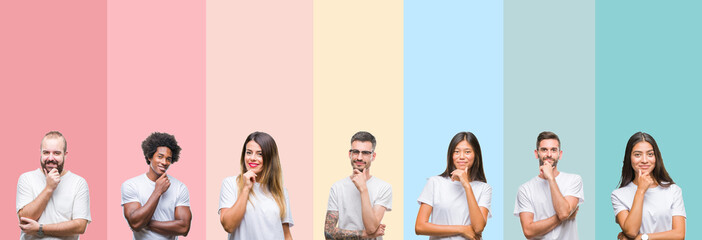 Collage of different ethnics young people wearing white t-shirt over colorful isolated background looking confident at the camera with smile with crossed arms and hand raised on chin