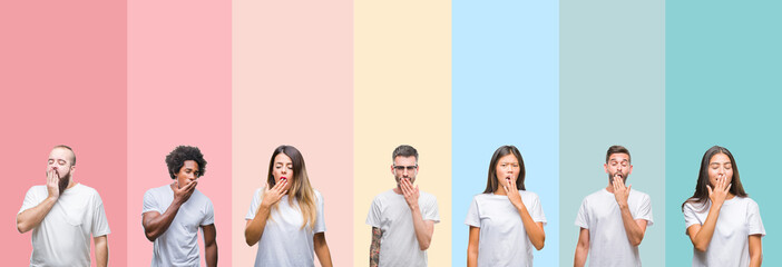 Collage of different ethnics young people wearing white t-shirt over colorful isolated background bored yawning tired covering mouth with hand. Restless and sleepiness.