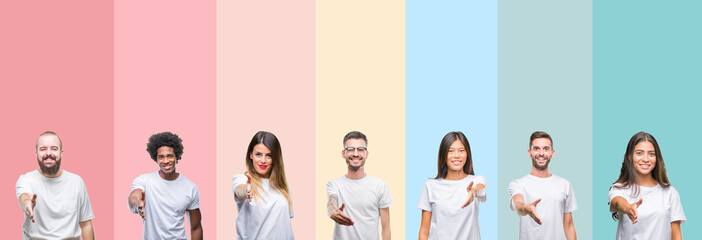 Collage of different ethnics young people wearing white t-shirt over colorful isolated background smiling friendly offering handshake as greeting and welcoming. Successful business. Wall mural