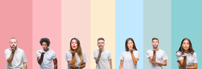 Collage of different ethnics young people wearing white t-shirt over colorful isolated background looking at the camera blowing a kiss with hand on air being lovely and sexy. Love expression.