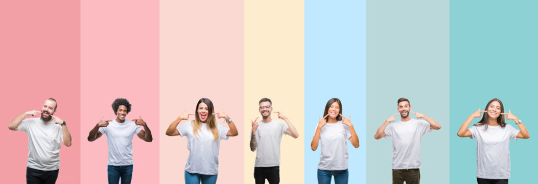 Collage of different ethnics young people wearing white t-shirt over colorful isolated background smiling confident showing and pointing with fingers teeth and mouth. Health concept.