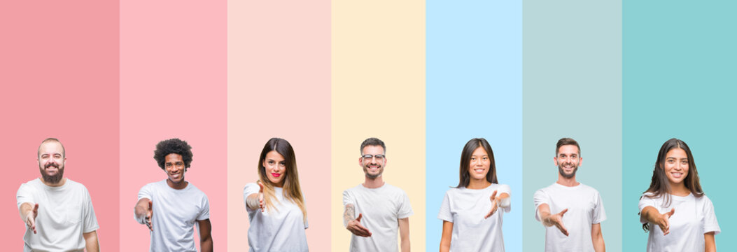 Collage of different ethnics young people wearing white t-shirt over colorful isolated background smiling friendly offering handshake as greeting and welcoming. Successful business.