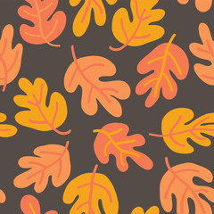 Vector seamless pattern of autumn leaves. Oak leaf subtle fall background orange, yellow, and brown for textile, digital paper, wallpaper, web banner, invitation, Thanksgiving season, page fill, card
