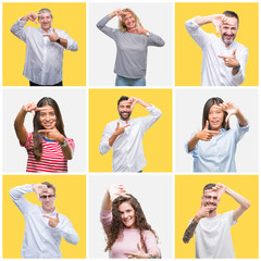 Collage of group of young and senior people over yellow isolated background smiling making frame with hands and fingers with happy face. Creativity and photography concept.