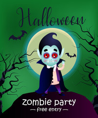 Halloween, zombie party, free entry lettering with Dracula. Invitation design. Handwritten and typed text, calligraphy. For leaflets, brochures, invitations, flyers, posters or banners.
