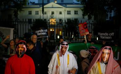 Demonstration outside Saudi Arabian Embassy in London