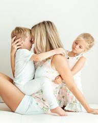 Mother bonding with her children