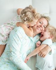 Mother bonding with children