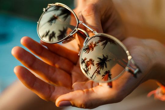 Sunglasses with palm trees reflected in them, hands, Summer vacation concept