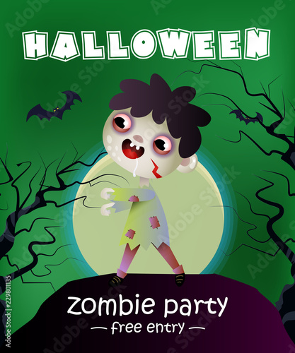 halloween zombie party free entry lettering with zombie kid
