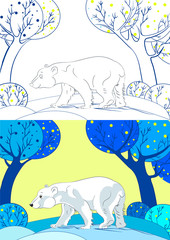 Polar bear on winter background. Coloring book. Cartoon vector illustration