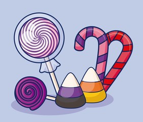 sweet lollipops with candies icon