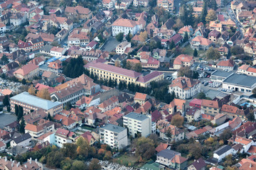 Top view of medieval Brasov city in Romania