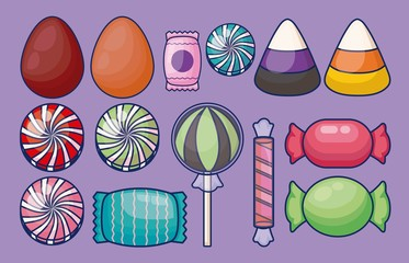 set of sweet candies isolated icon