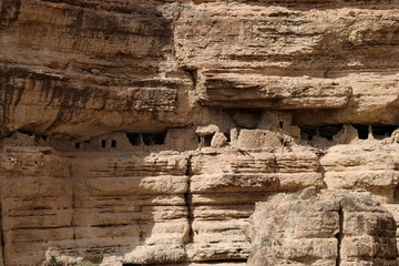 wall of sandstone in a valley