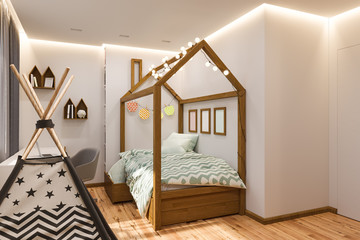 The interior design Children's playroom and bedroom in the Scandinavian style