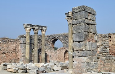 Ancient ruins.Street of ancient ruins.The ruins of an ancient house. Efes. Izmir. Turkey