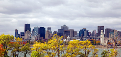 Skyline of Montreal city at fall