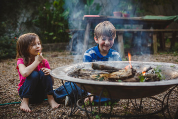Kids at fire pit