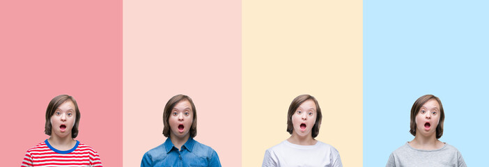Collage of down syndrome woman over colorful stripes isolated background afraid and shocked with surprise expression, fear and excited face.