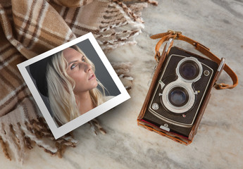 Instant Photo on Marble Table Mockup