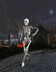 3D rendering of skeletons dancing in a cemetery at night. Funny halloween background with narrow depth of field