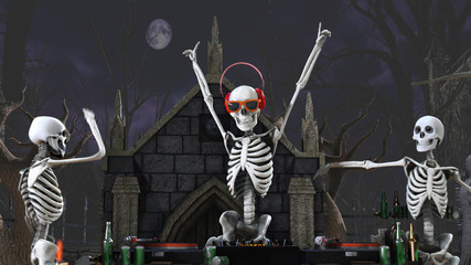 3D rendering of a Dj skeletons playing records in a cemetery at night. Funny halloween background.