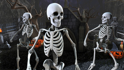 3D rendering of skeletons dancing in a cemetery at night. Funny halloween background.