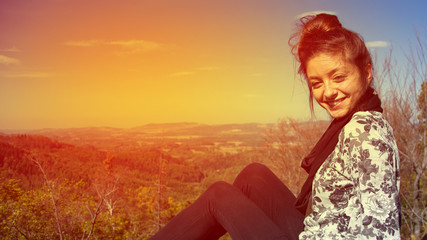 beautiful arabic girl smile to camera in Germany with landscape background