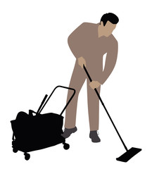 Male Cleaner Cleaning Floor With Mop