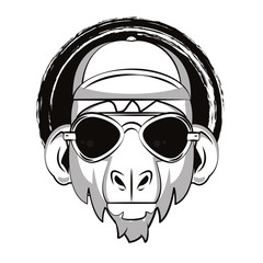 Hipster monkey cool sketch